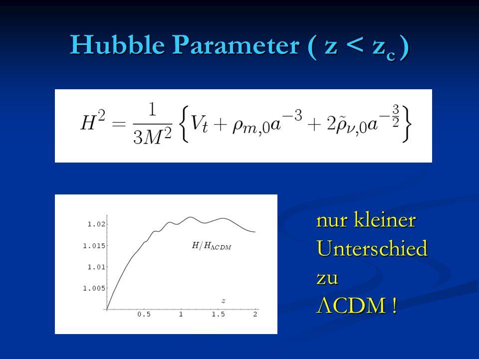 Hubble Parameter ( z < z c ) nur kleiner Unterschiedzu ΛCDM !