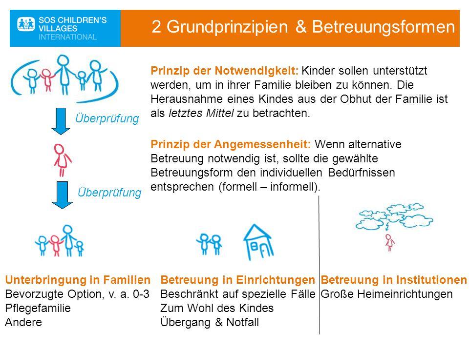 2 Grundprinzipien & Betreuungsformen Prinzip der Notwendigkeit: Kinder sollen unterstützt werden, um in ihrer Familie bleiben zu können. Die Herausnah
