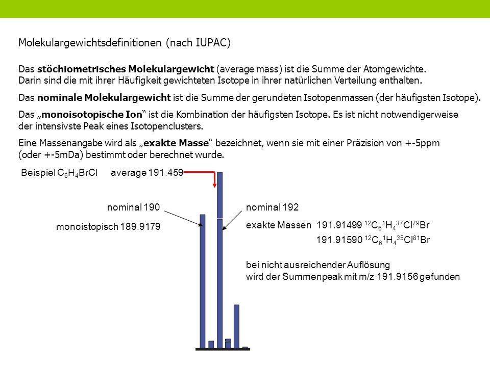 Molekulargewichtsdefinitionen (nach IUPAC) Das stöchiometrisches Molekulargewicht (average mass) ist die Summe der Atomgewichte. Darin sind die mit ih