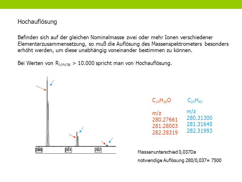 Befinden sich auf der gleichen Nominalmasse zwei oder mehr Ionen verschiedener Elementarzusammensetzung, so muß die Auflösung des Massenspektrometers