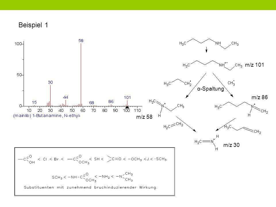 Beispiel 1 α-Spaltung m/z 30 m/z 58 m/z 86 m/z 101