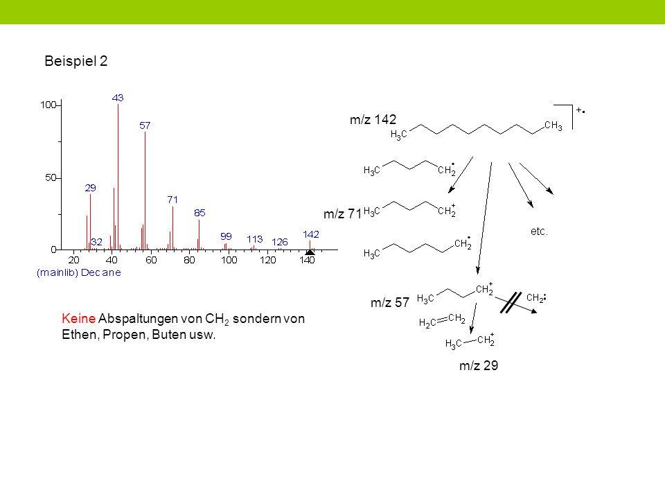 Beispiel 2 Keine Abspaltungen von CH 2 sondern von Ethen, Propen, Buten usw. m/z 29 m/z 57 m/z 71 m/z 142