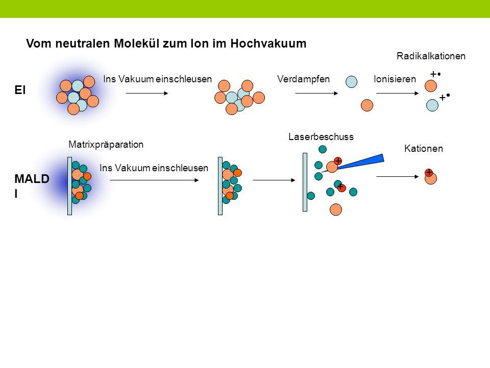 Vom neutralen Molekül zum Ion im Hochvakuum + Ins Vakuum einschleusen ++ VerdampfenIonisieren Radikalkationen Laserbeschuss + Ins Vakuum einschleuse