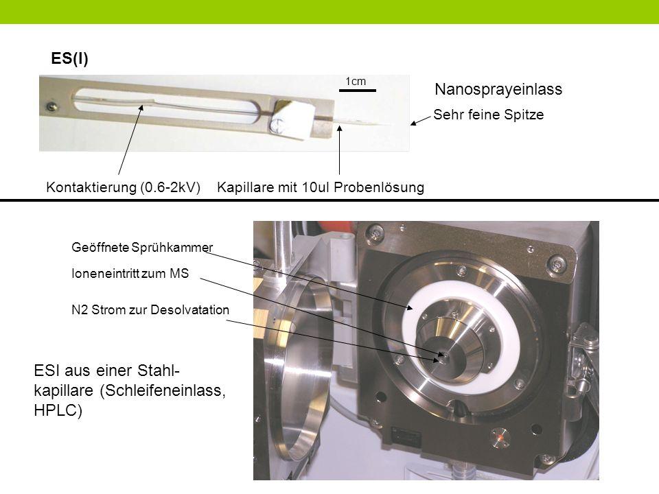 ES(I) 1cm Kontaktierung (0.6-2kV) Kapillare mit 10ul Probenlösung Sehr feine Spitze Ioneneintritt zum MS Geöffnete Sprühkammer N2 Strom zur Desolvatat