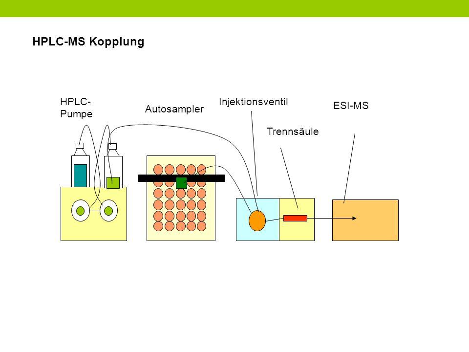 HPLC-MS Kopplung HPLC- Pumpe Autosampler Injektionsventil Trennsäule ESI-MS