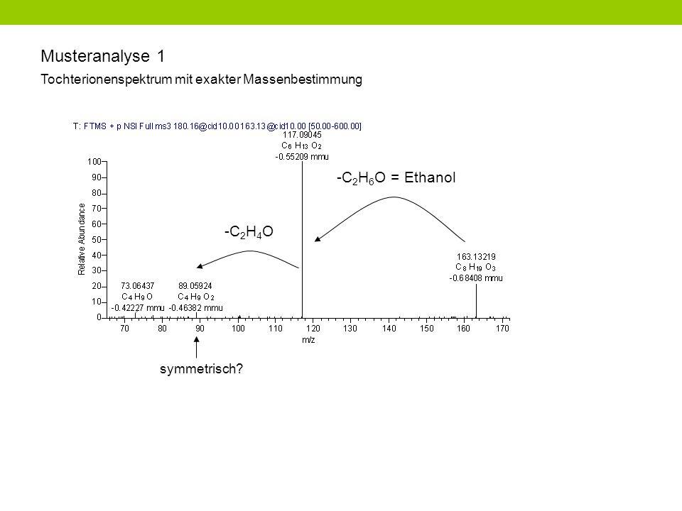 Musteranalyse 1 Tochterionenspektrum mit exakter Massenbestimmung -C 2 H 6 O = Ethanol -C 2 H 4 O symmetrisch?