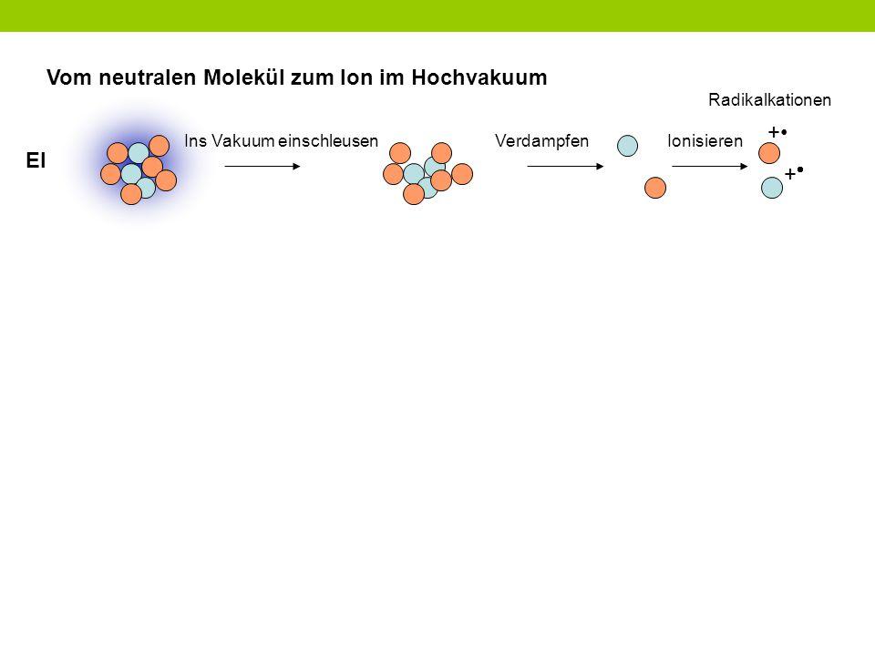 Vom neutralen Molekül zum Ion im Hochvakuum + Ins Vakuum einschleusen ++ VerdampfenIonisieren Radikalkationen EI