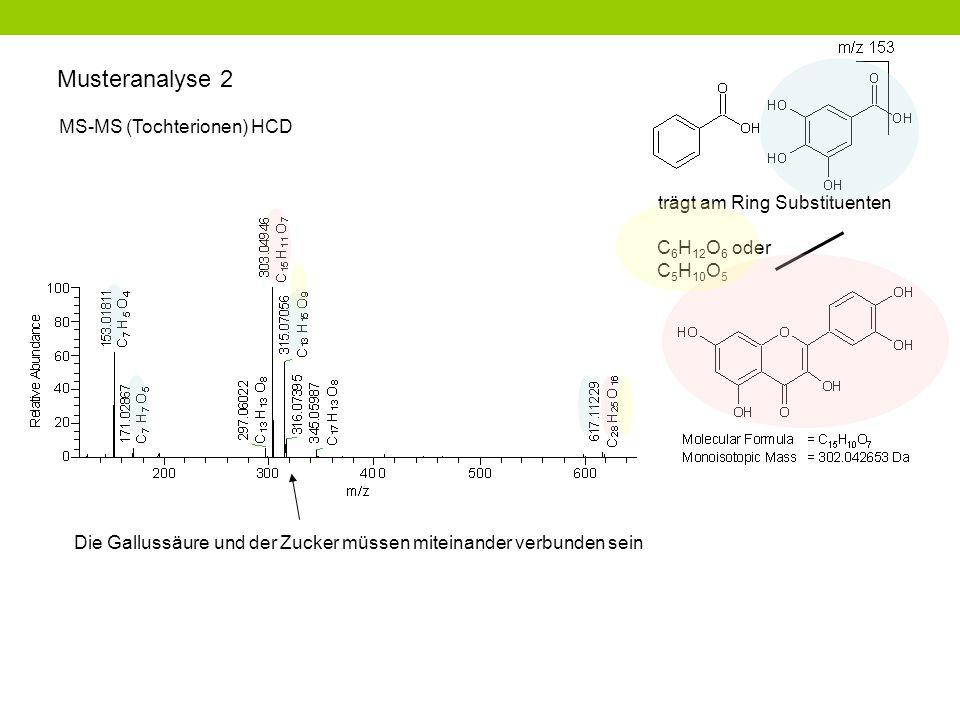 Musteranalyse 2 C 6 H 12 O 6 oder C 5 H 10 O 5 trägt am Ring Substituenten MS-MS (Tochterionen) HCD Die Gallussäure und der Zucker müssen miteinander