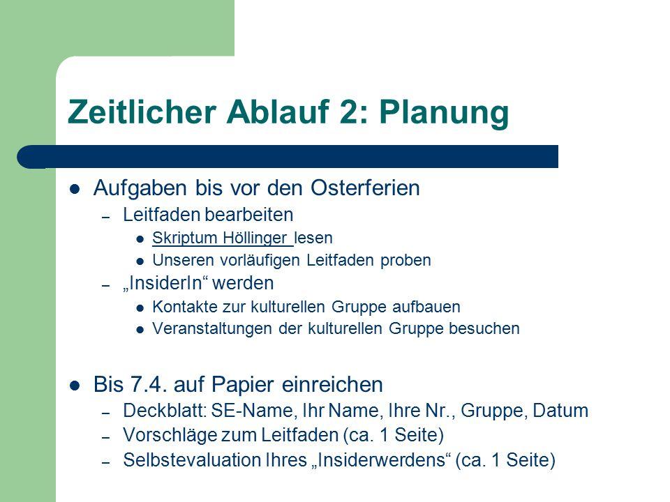 Zeitlicher Ablauf 2: Planung Aufgaben bis vor den Osterferien – Leitfaden bearbeiten Skriptum Höllinger lesen Skriptum Höllinger Unseren vorläufigen L