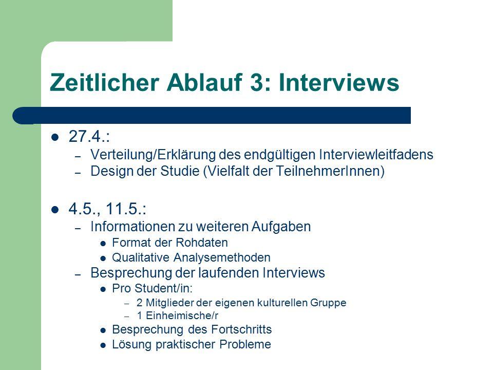 Zeitlicher Ablauf 3: Interviews 27.4.: – Verteilung/Erklärung des endgültigen Interviewleitfadens – Design der Studie (Vielfalt der TeilnehmerInnen) 4
