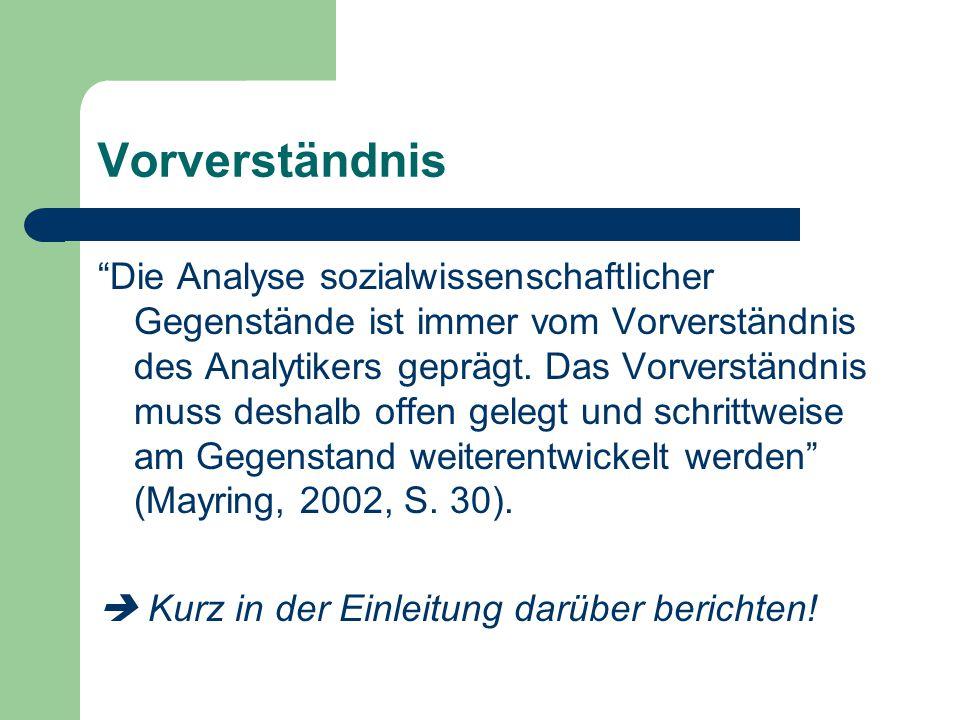 """Vorverständnis """"Die Analyse sozialwissenschaftlicher Gegenstände ist immer vom Vorverständnis des Analytikers geprägt. Das Vorverständnis muss deshalb"""