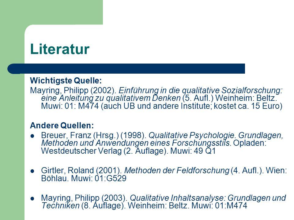 Literatur Wichtigste Quelle: Mayring, Philipp (2002). Einführung in die qualitative Sozialforschung: eine Anleitung zu qualitativem Denken (5. Aufl.)