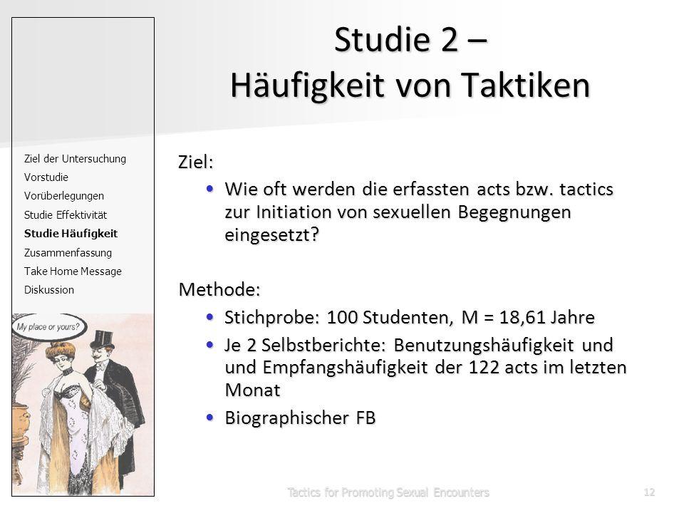 Tactics for Promoting Sexual Encounters12 Studie 2 – Häufigkeit von Taktiken Ziel: Wie oft werden die erfassten acts bzw.