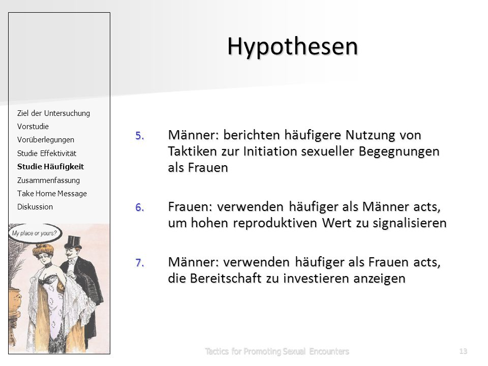 Tactics for Promoting Sexual Encounters13 Hypothesen 5.