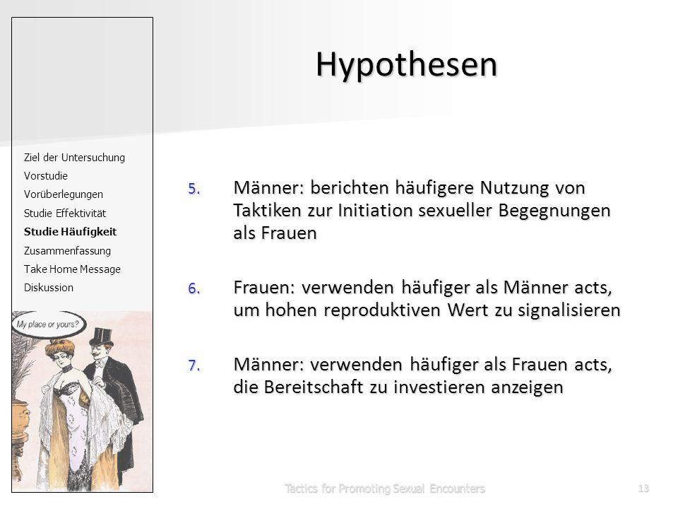 Tactics for Promoting Sexual Encounters13 Hypothesen 5. Männer: berichten häufigere Nutzung von Taktiken zur Initiation sexueller Begegnungen als Frau
