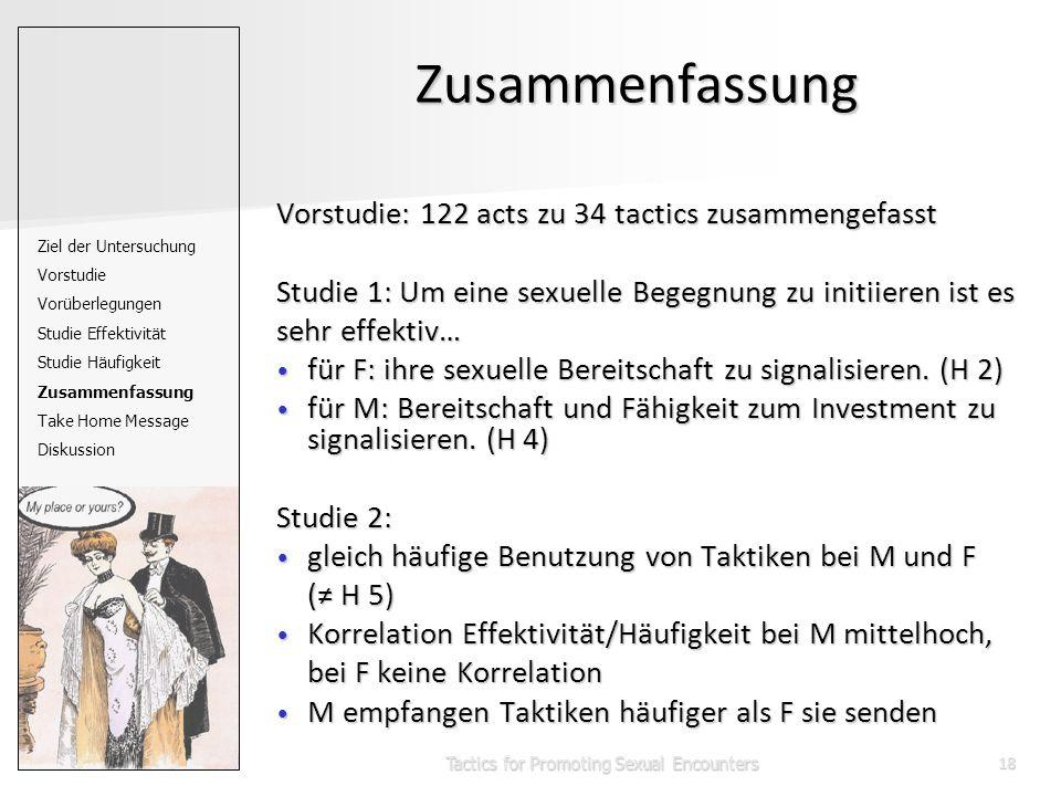 Tactics for Promoting Sexual Encounters18 Zusammenfassung Vorstudie: 122 acts zu 34 tactics zusammengefasst Studie 1: Um eine sexuelle Begegnung zu initiieren ist es sehr effektiv… für F: ihre sexuelle Bereitschaft zu signalisieren.