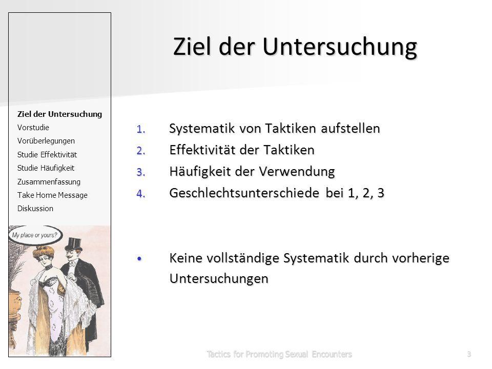 Tactics for Promoting Sexual Encounters3 Ziel der Untersuchung 1. Systematik von Taktiken aufstellen 2. Effektivität der Taktiken 3. Häufigkeit der Ve