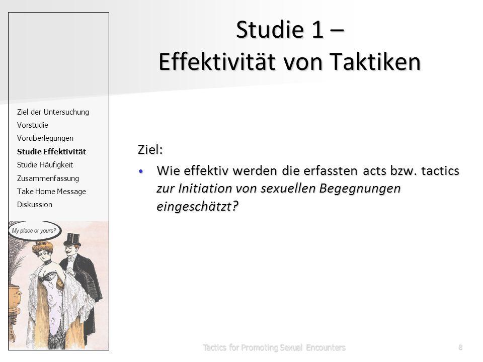 Tactics for Promoting Sexual Encounters8 Studie 1 – Effektivität von Taktiken Ziel: Wie effektiv werden die erfassten acts bzw.