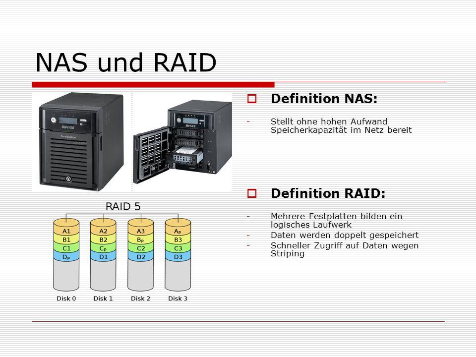 NAS und RAID  Definition NAS: -Stellt ohne hohen Aufwand Speicherkapazität im Netz bereit  Definition RAID: -Mehrere Festplatten bilden ein logisches Laufwerk -Daten werden doppelt gespeichert -Schneller Zugriff auf Daten wegen Striping