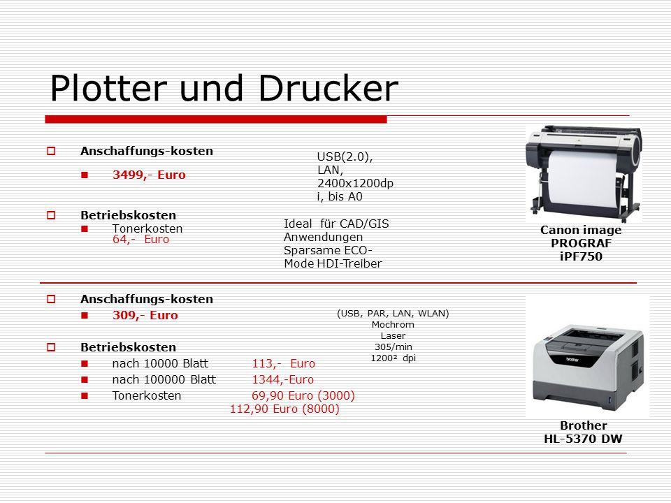 Plotter und Drucker  Anschaffungs-kosten 3499,- Euro  Betriebskosten Tonerkosten 64,- Euro Canon image PROGRAF iPF750 USB(2.0), LAN, 2400x1200dp i, bis A0 Ideal für CAD/GIS Anwendungen Sparsame ECO- Mode HDI-Treiber  Anschaffungs-kosten 309,- Euro  Betriebskosten nach 10000 Blatt 113,- Euro nach 100000 Blatt 1344,-Euro Tonerkosten 69,90 Euro (3000) 112,90 Euro (8000) (USB, PAR, LAN, WLAN) Mochrom Laser 305/min 1200² dpi Brother HL-5370 DW