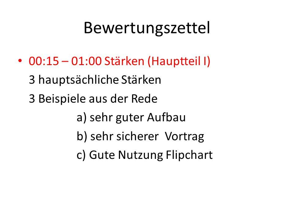 Bewertungszettel 00:15 – 01:00 Stärken (Hauptteil I) 3 hauptsächliche Stärken 3 Beispiele aus der Rede a) sehr guter Aufbau b) sehr sicherer Vortrag c