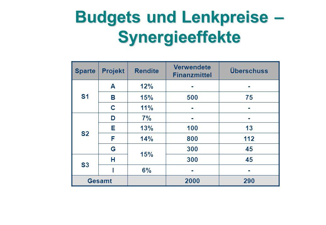 Budgets und Lenkpreise – Synergieeffekte SparteProjektRendite Verwendete Finanzmittel Überschuss S1 A12%-- B15%50075 C11%-- S2 D7%-- E13%10013 F14%800112 G 15% 30045 S3 H30045 I6%-- Gesamt2000290