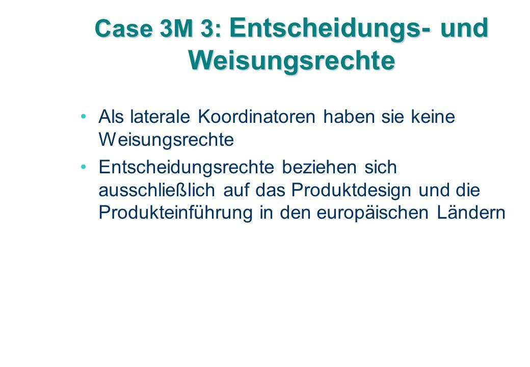 Case 3M 3: Entscheidungs- und Weisungsrechte Als laterale Koordinatoren haben sie keine Weisungsrechte Entscheidungsrechte beziehen sich ausschließlich auf das Produktdesign und die Produkteinführung in den europäischen Ländern