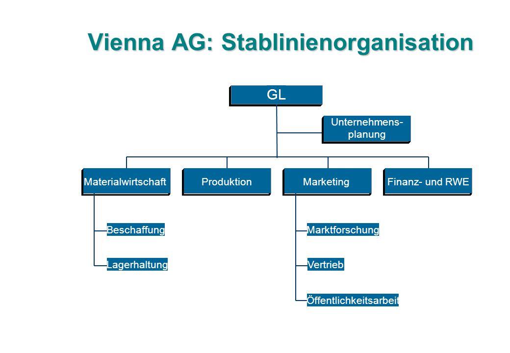 Vienna AG: Stablinienorganisation Beschaffung Lagerhaltung MaterialwirtschaftProduktion Marktforschung Vertrieb Öffentlichkeitsarbeit MarketingFinanz- und RWE GL Unternehmens- planung