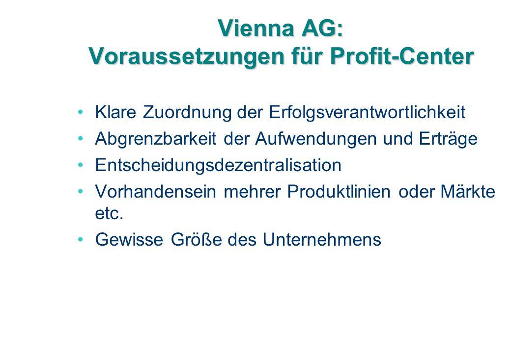 Vienna AG: Voraussetzungen für Profit-Center Klare Zuordnung der Erfolgsverantwortlichkeit Abgrenzbarkeit der Aufwendungen und Erträge Entscheidungsdezentralisation Vorhandensein mehrer Produktlinien oder Märkte etc.