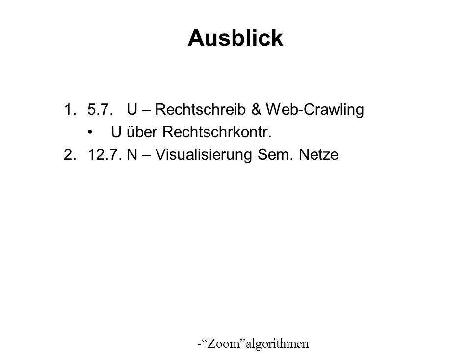 Ausblick 1.5.7. U – Rechtschreib & Web-Crawling U über Rechtschrkontr.