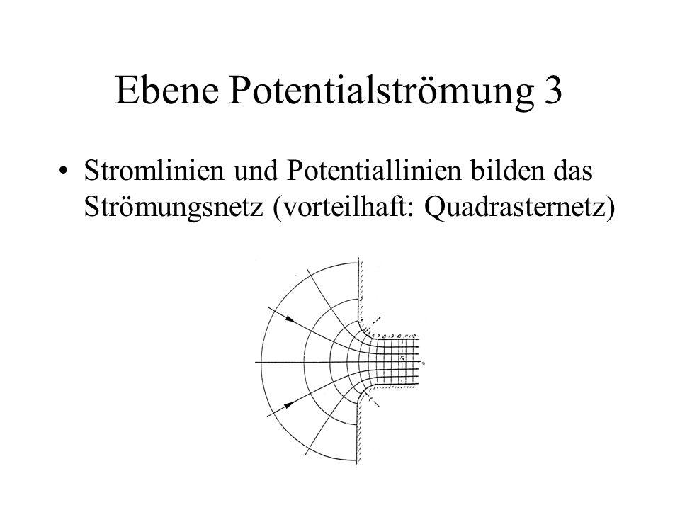 Ebene Potentialströmung 3 Stromlinien und Potentiallinien bilden das Strömungsnetz (vorteilhaft: Quadrasternetz)