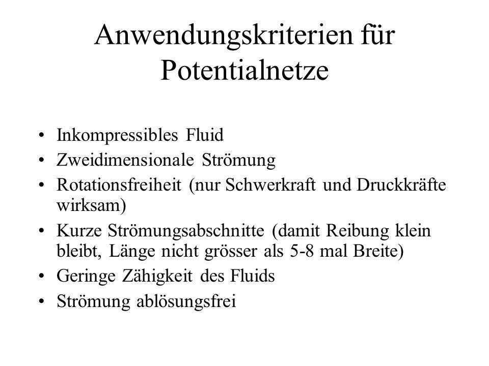 Anwendungskriterien für Potentialnetze Inkompressibles Fluid Zweidimensionale Strömung Rotationsfreiheit (nur Schwerkraft und Druckkräfte wirksam) Kur