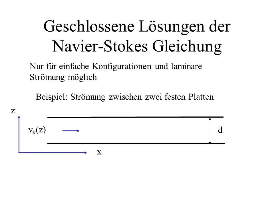 Geschlossene Lösungen der Navier-Stokes Gleichung Nur für einfache Konfigurationen und laminare Strömung möglich Beispiel: Strömung zwischen zwei fest