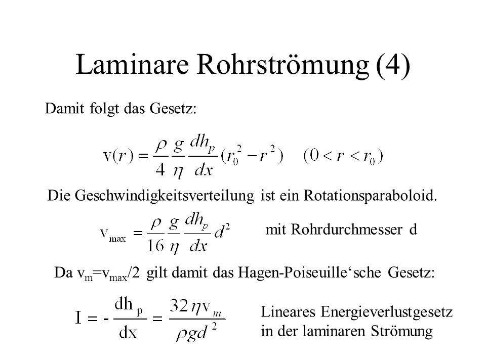 Laminare Rohrströmung (4) Damit folgt das Gesetz: Die Geschwindigkeitsverteilung ist ein Rotationsparaboloid. mit Rohrdurchmesser d Da v m =v max /2 g