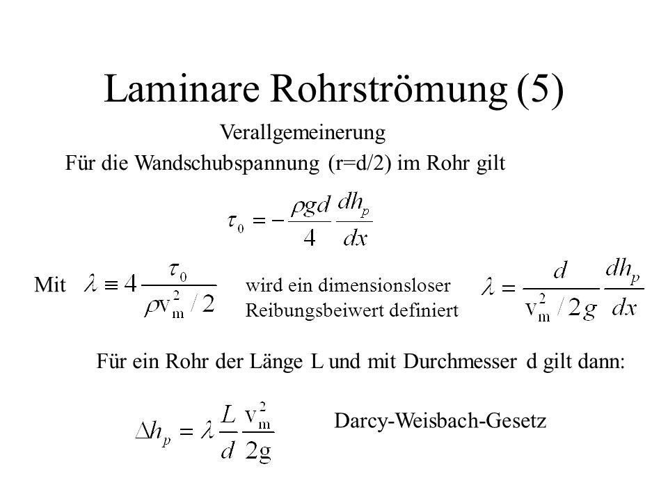 Laminare Rohrströmung (5) Verallgemeinerung Für die Wandschubspannung (r=d/2) im Rohr gilt wird ein dimensionsloser Reibungsbeiwert definiert Mit Für