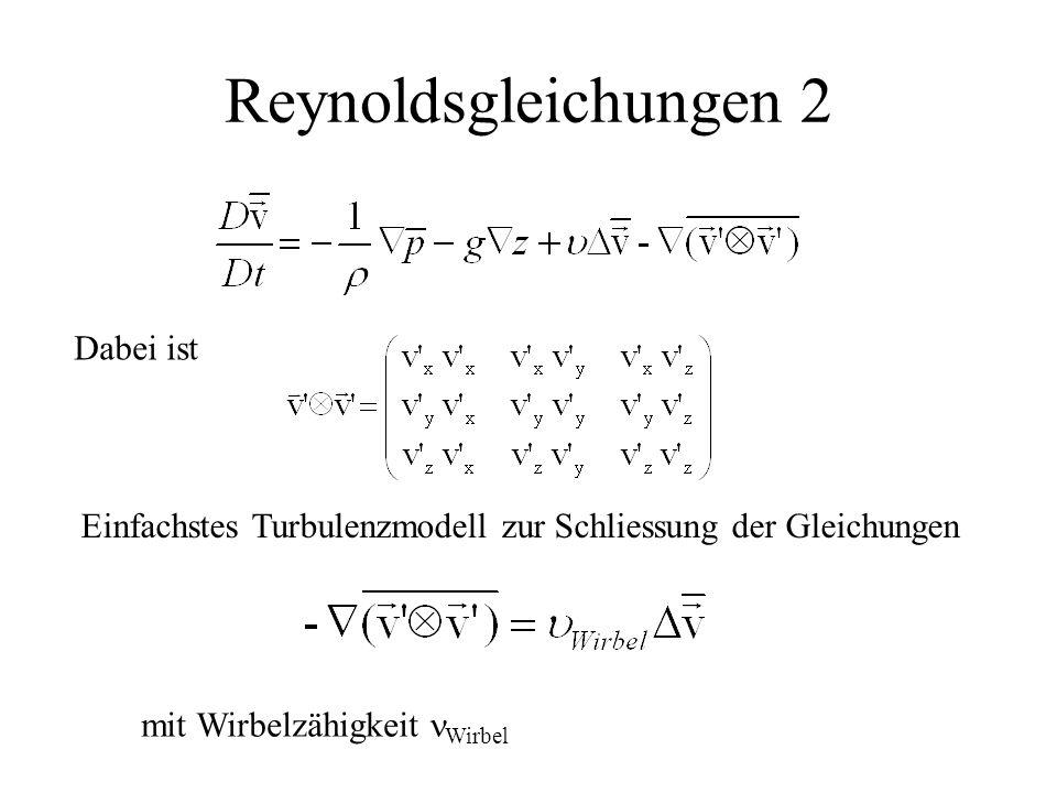 Reynoldsgleichungen 2 Dabei ist Einfachstes Turbulenzmodell zur Schliessung der Gleichungen mit Wirbelzähigkeit Wirbel