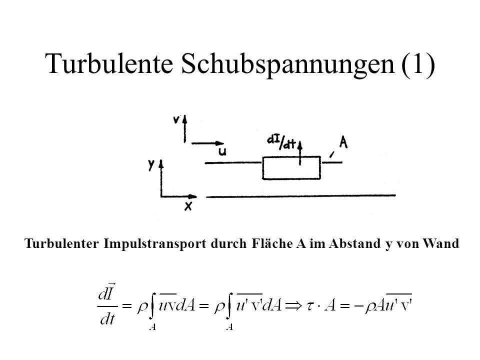 Turbulente Schubspannungen (1) Turbulenter Impulstransport durch Fläche A im Abstand y von Wand
