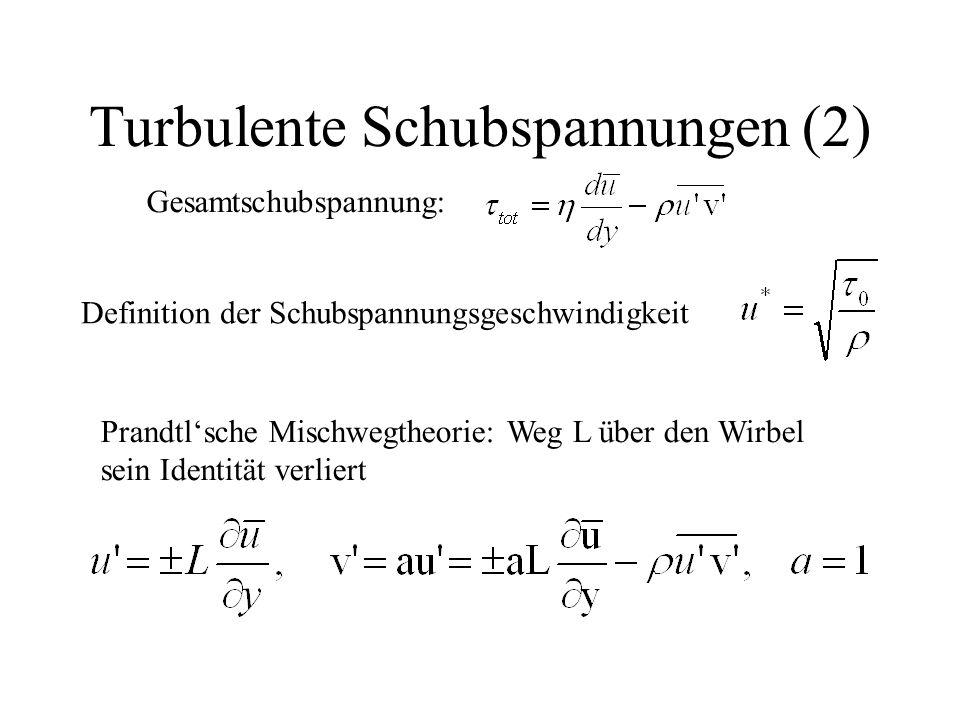 Turbulente Schubspannungen (2) Gesamtschubspannung: Definition der Schubspannungsgeschwindigkeit Prandtl'sche Mischwegtheorie: Weg L über den Wirbel s