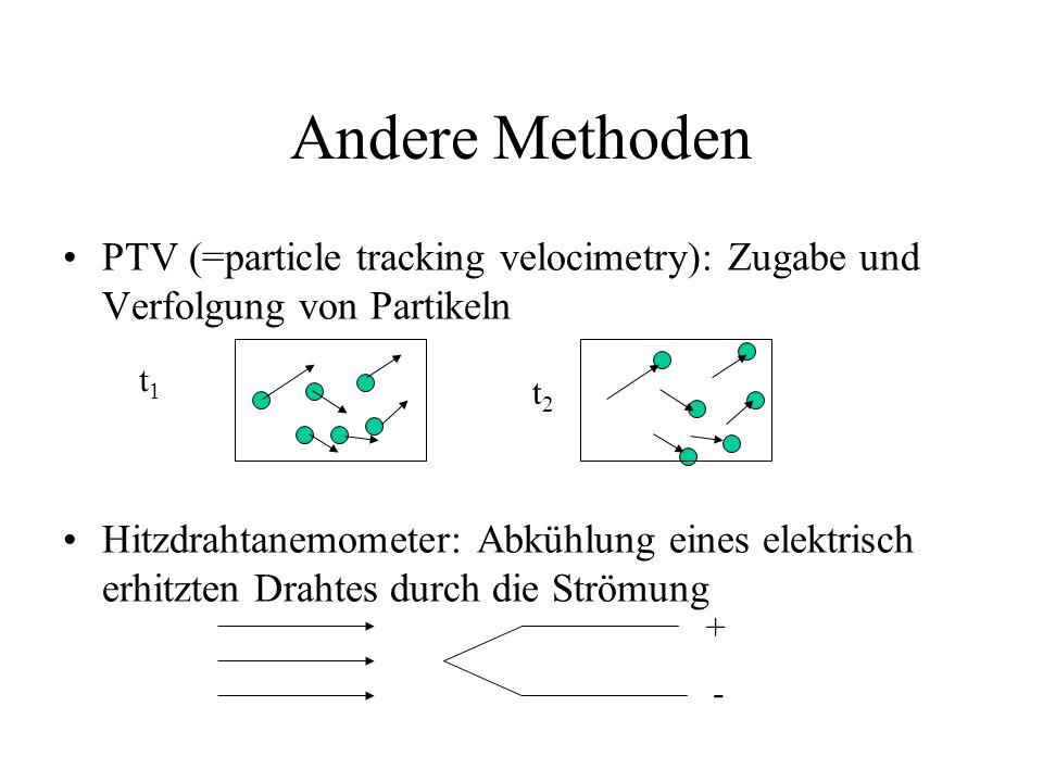 PTV (=particle tracking velocimetry): Zugabe und Verfolgung von Partikeln Hitzdrahtanemometer: Abkühlung eines elektrisch erhitzten Drahtes durch die