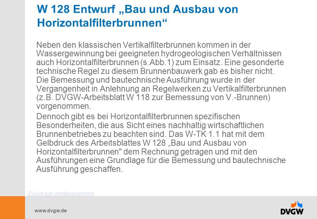 """www.dvgw.de W 128 Entwurf """"Bau und Ausbau von Horizontalfilterbrunnen"""" Neben den klassischen Vertikalfilterbrunnen kommen in der Wassergewinnung bei g"""