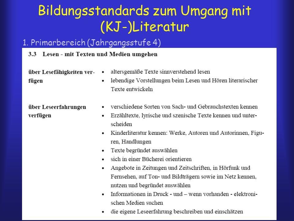 Bildungsstandards zum Umgang mit (KJ-)Literatur 1. Primarbereich (Jahrgangsstufe 4)