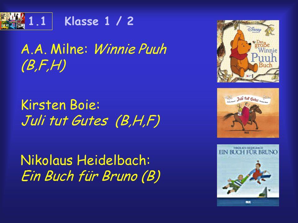 A.A. Milne: Winnie Puuh (B,F,H) Kirsten Boie: Juli tut Gutes (B,H,F) Nikolaus Heidelbach: Ein Buch für Bruno (B) 1.1 Klasse 1 / 2