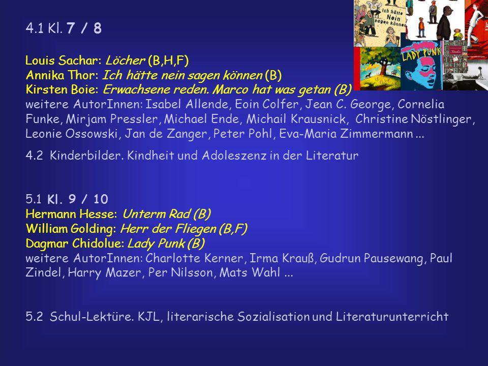 4.1 Kl. 7 / 8 Louis Sachar: Löcher (B,H,F) Annika Thor: Ich hätte nein sagen können (B) Kirsten Boie: Erwachsene reden. Marco hat was getan (B) weiter