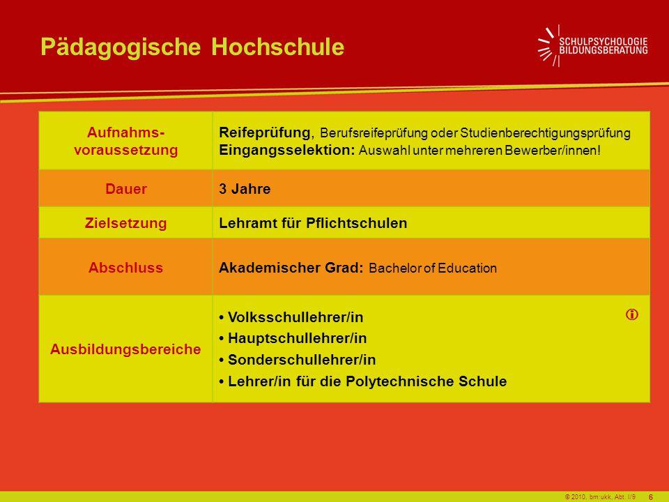 © 2010, bm:ukk, Abt. I/9 Pädagogische Hochschule Aufnahms- voraussetzung Reifeprüfung, Berufsreifeprüfung oder Studienberechtigungsprüfung Eingangssel