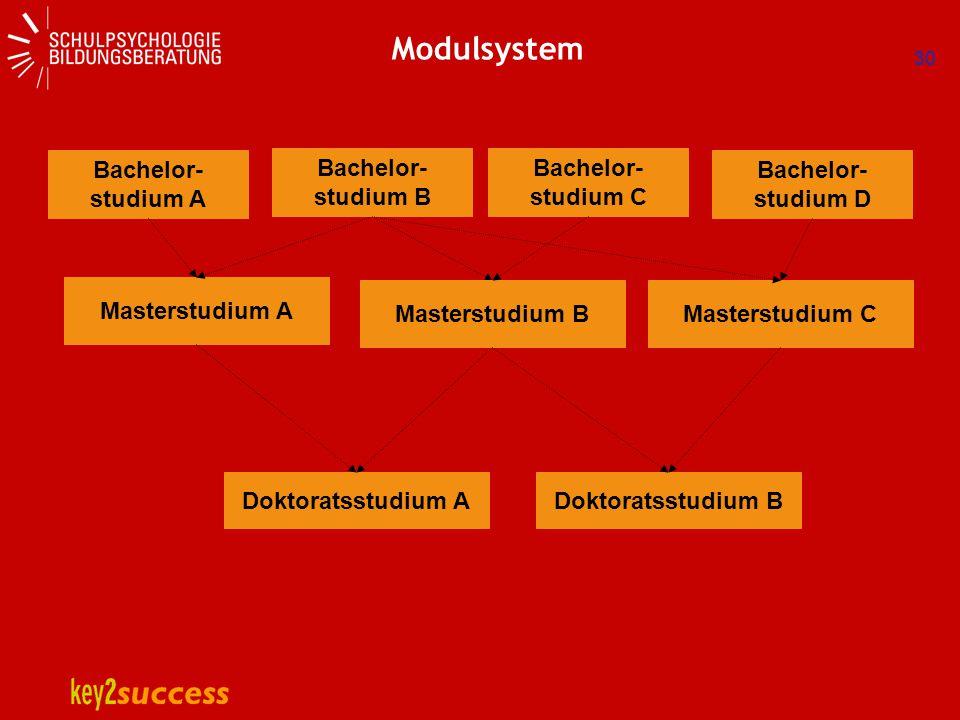 30 Modulsystem Bachelor- studium A Masterstudium A Doktoratsstudium A Bachelor- studium B Bachelor- studium C Bachelor- studium D Masterstudium BMaste