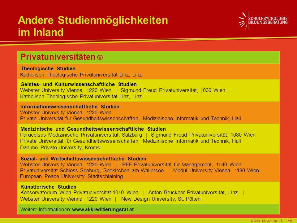 © 2010, bm:ukk, Abt. I/9 Andere Studienmöglichkeiten im Inland Privatuniversitäten Theologische Studien Geistes- und Kulturwissenschaftliche Studien I