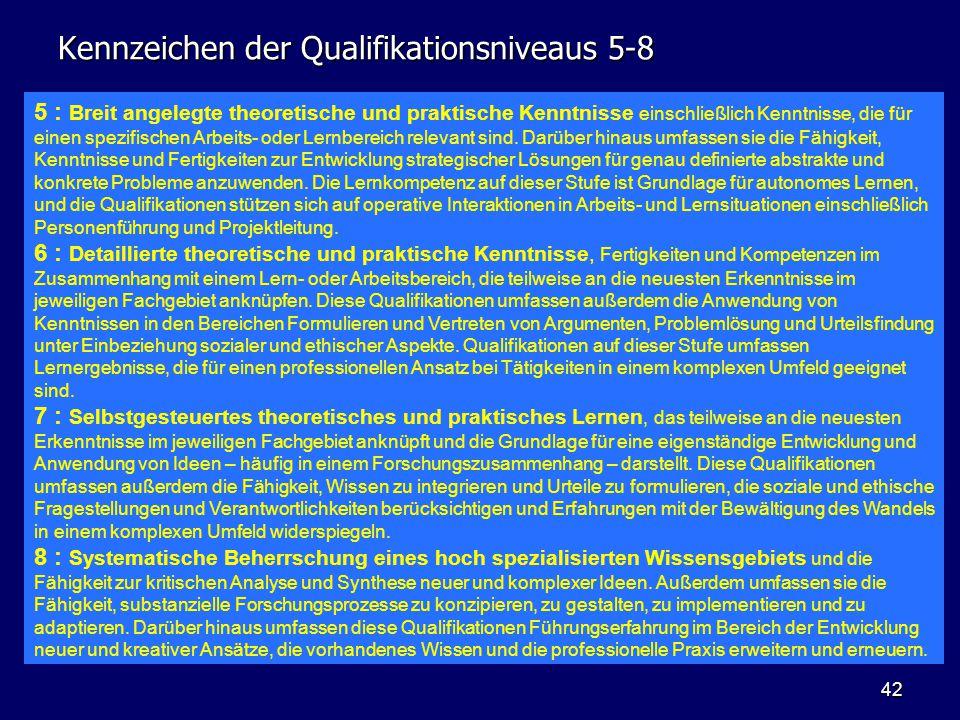 42 Kennzeichen der Qualifikationsniveaus 5-8 5 : Breit angelegte theoretische und praktische Kenntnisse einschließlich Kenntnisse, die für einen spezi