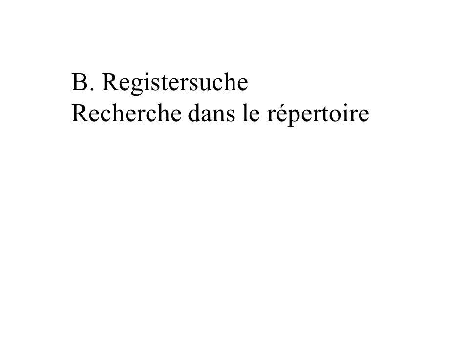B. Registersuche Recherche dans le répertoire