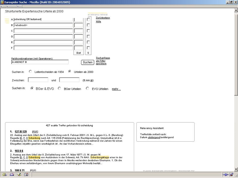 Deskriptoren Suchterm scheidung als Deskriptor verwenden Strukturierte Expertensuche Urteile ab 2000