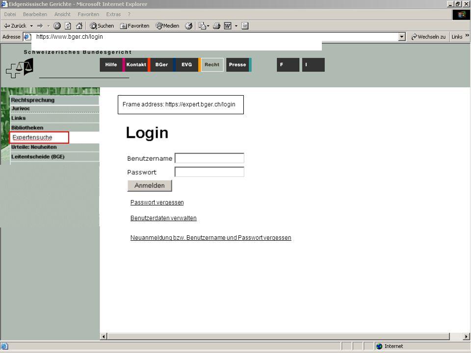 Passwort vergessen Benutzerdaten verwalten Neuanmeldung bzw.